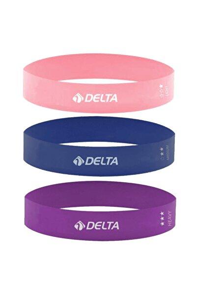 Delta Delta 3'lü Aerobik Bandı Latex Bant Set Pilates Yoga Lastiği Seti