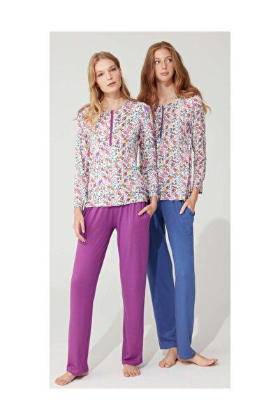 Feyza Pijama Uzun Kol Kadın Pijama Takım