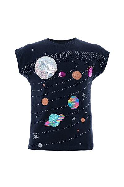 Kız Çocuk Tişört Gezegen Pullu Baskı T-Shirt 9-12 Yaş Lacivert