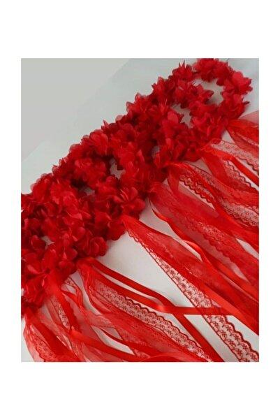 Evsay 5li Yuvarlak Nedime Tacı Lazer Kesim Çiçekli Kına Nedime Tacı Kırmızı