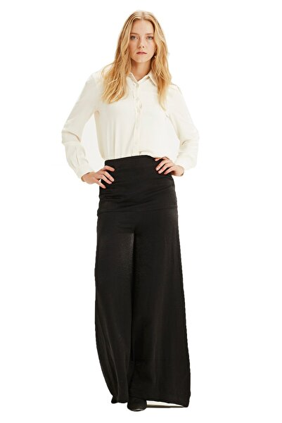 Mizalle Kadın Siyah Yüksek Bel Pantolon 18KGMZL2011017