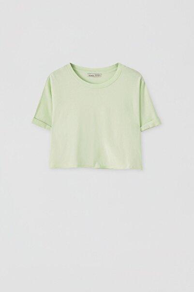 Kadın Açık Limon Yeşili Kenarı Dikişsiz Crop Fit T-Shirt 05236327