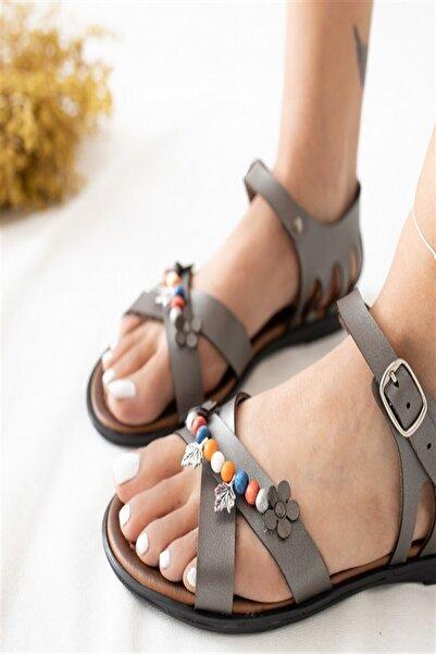 Arma House Kadın Hakiki Deri Boncuk ,Yapraklı Sandalet