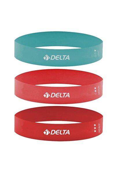 Delta 3'lü Aerobik Bandı Latex Bant Set Pilates Yoga Lastiği Seti