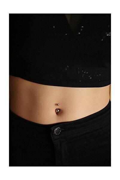 Kadın Cerrahi Gümüş Renk Top Model Göbek Piercing