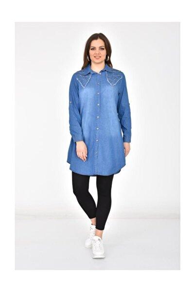 Modkofoni Kadın Omuz Taş Detaylı ve Püsküllü Koyu Mavi Tunik