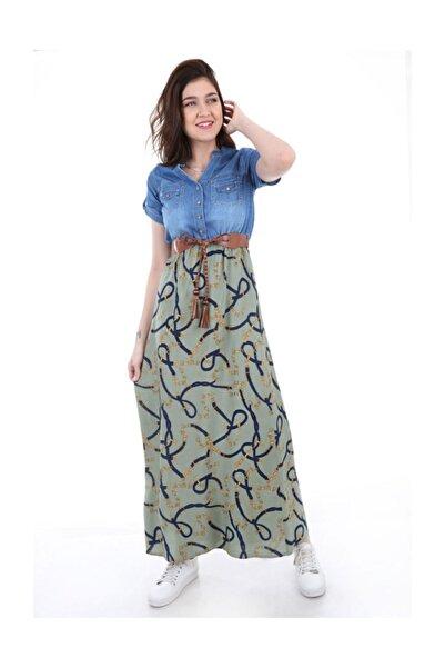Bigdart Kadın Açık Haki Desenli Kot Elbise 1381bgd_079