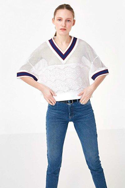Kadın Beyaz Ribana Yaka Crop Bluz TS1200006241096