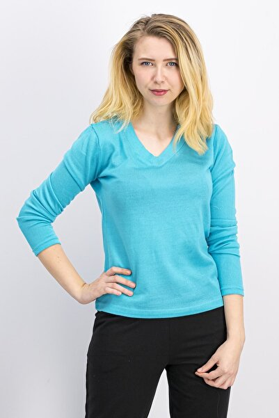 Arnetta Homewear Turkuaz Kadın V Yaka Triko Bluz