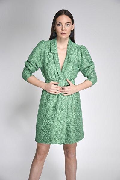 JOIN US Kadın Yeşil Simli  Kemerli Triko Ceket-2020S086