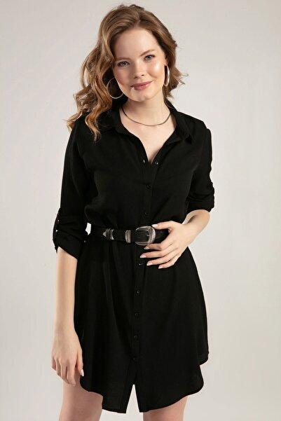 Kadın Siyah Düğmeli Eteği Bol Katlanabilir Kol Tunik Y20S110-5691