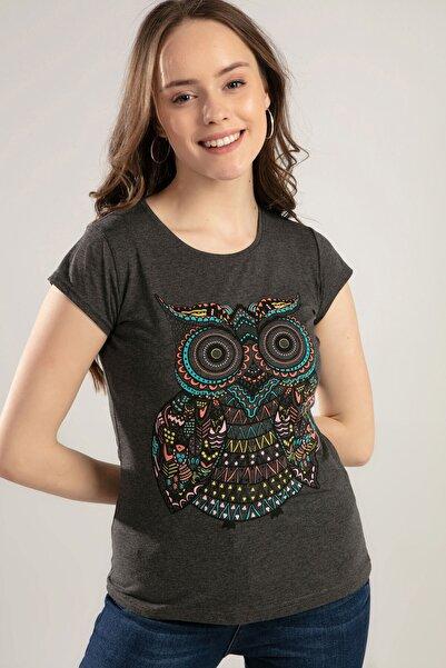Y-London Kadın Antrasit Baykuş Baskılı Tişört Y20S150-1012