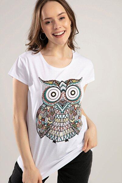 Kadın Beyaz Baykuş Baskılı Tişört Y20S150-1012