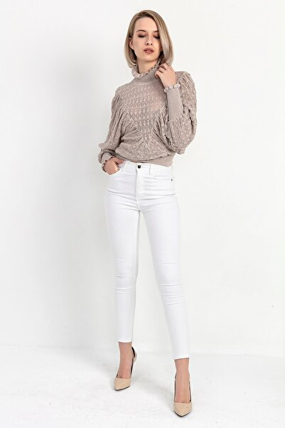 Kadın Beyaz Gabardin Dar Paca Pantolon Y20036_PNT_891D_T_D1