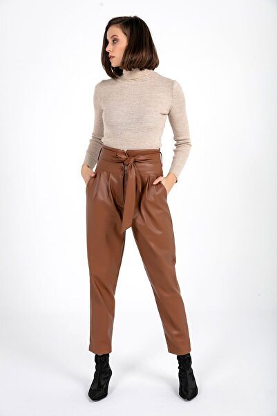 TIFFANY&TOMATO Kadın Taba Kuşaklı Deri Pantolon K20445_PNT_891D_T_D1