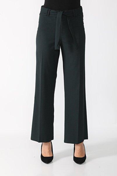 Rodnik Fashion Yeşil Pitikare Ekose Bol Bağlamalı Kadın Pantolon