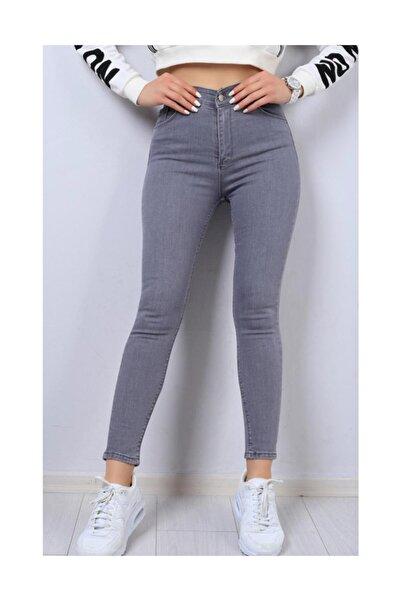 Bayan Açık Gri Likralı Kot Pantolon