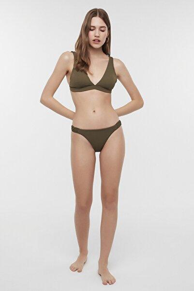 Kadın Haki Basic Deep V Bikini Üstü