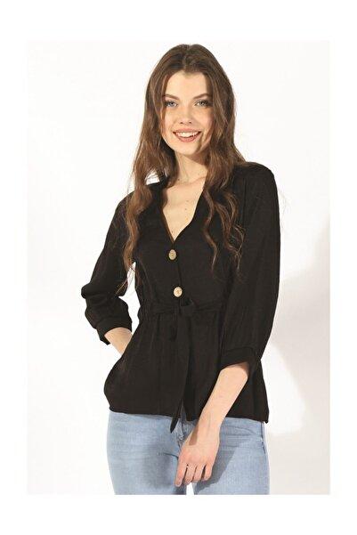 Twister Jeans Kadın Düğmeli Belden Bağlama Bluz 19078 Sıyah