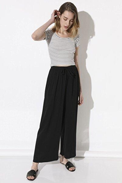 Kadın Bol Paça Pantolon - Siyah
