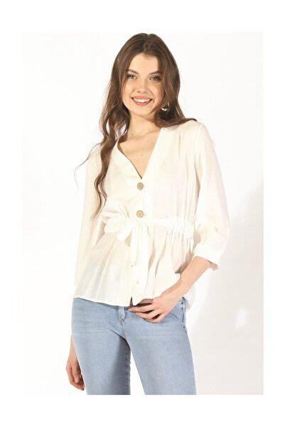 Twister Jeans Kadın Düğmeli Belden Bağlama Bluz 19078 Beyaz