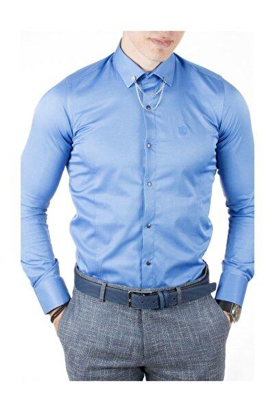 DeepSEA Erkek Saks Mavi pamuk saten Klasik Gömlek