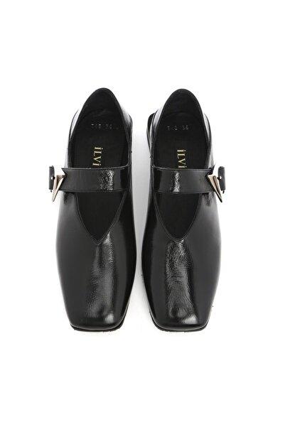 Lion Bayan Makosen Ayakkabı Kırışık Siyah Rugan