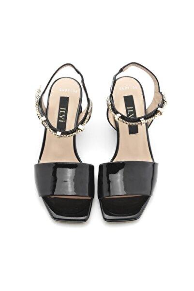 Alissa Kadın Sandalet Siyah Rugan