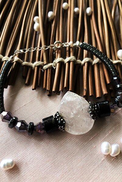 Dr. Stone Luxury Collection Kuvars, Kristal Ve Hematit Taşı 925 Ayar Gümüş Kadın El Yapımı Bileklik Lxdr74