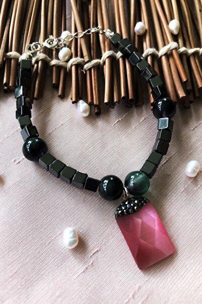 Dr. Stone Dr Stone Luxury Collection Kedigözü Ve Hematit Taşı 925 Ayar Gümüş Kadın El Yapımı Bileklik Lxdr15