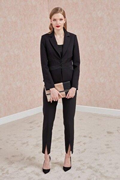 Kadın Pantolon-Ön Orta Paça Yırtmaç Detaylı, Kemer Saten Kombinli Siyah 20Ypnt101