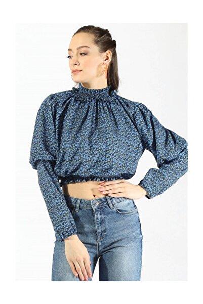 Twister Jeans Kadın Bel Büzgülü Bluz 19723 Sax