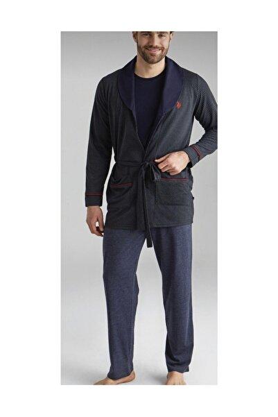 U.S. Polo Assn. Erkek Lacivert 1 Kısa Kollu Pijama + 1 Sabahlık Us.01.12004