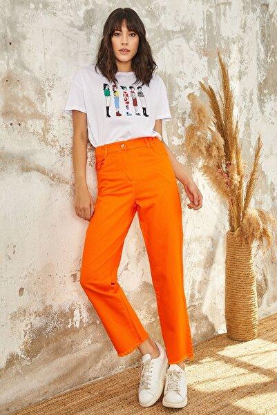 Mispacoz Kadın Oranj Jean Pantolon K126