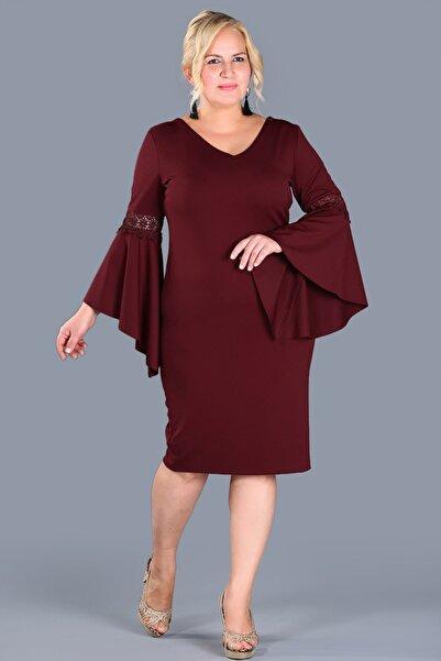 Nesrinden Büyük Beden Sırt Düğme Detay Bordo Elbise