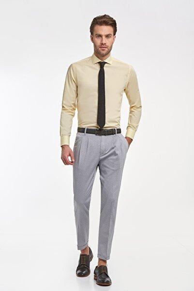 Hemington Sarı Italyan Yaka Pamuk Business Gömlek