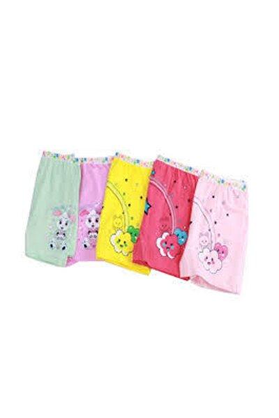 Tutku Kız Çocuk Renkli Likralı Pamuk Boxer 6 lı Paket