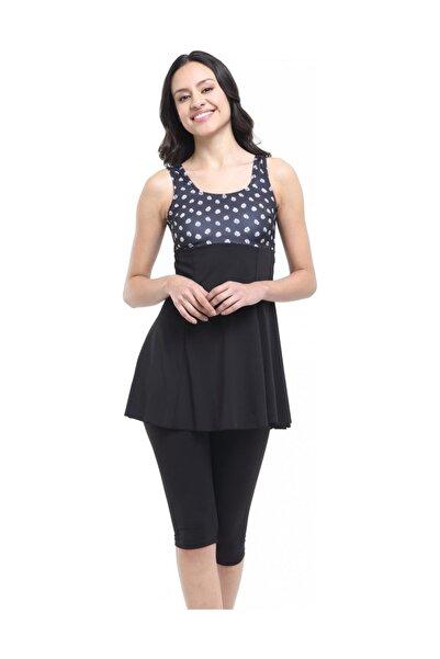 Kadın Siyah Desenli Garnili Taytlı Elbiseli Mayo