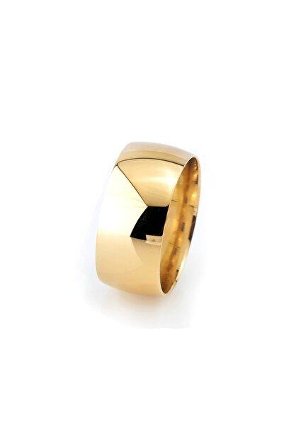Tesbihane Klasik Tasarım Gold Renk 925 Ayar Gümüş Erkek Alyans (m-3)