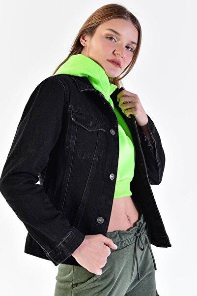 Addax Kadın Siyah Boyfriend Ceket