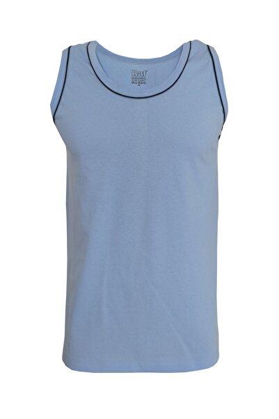 Raf Coll Unisex Mavi Basic Askılı Biyeli Tshirt