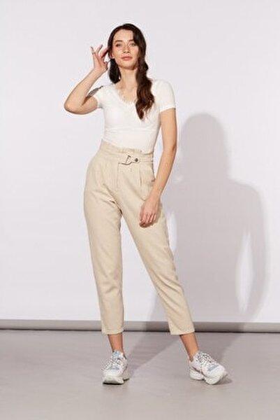 Kadın Taş Yüksek Bel Tokalı Pantolon 779-20Y04005.126