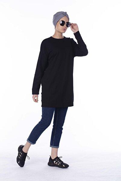 BARRELS AND OIL Kadın Siyah Salaş Basic Sweatshirt 733-19K009.91