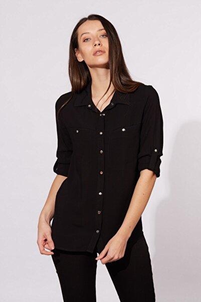 Kadın Siyah Katlama Kollu Çift Cepli Gömlek 485-20Y03010.91