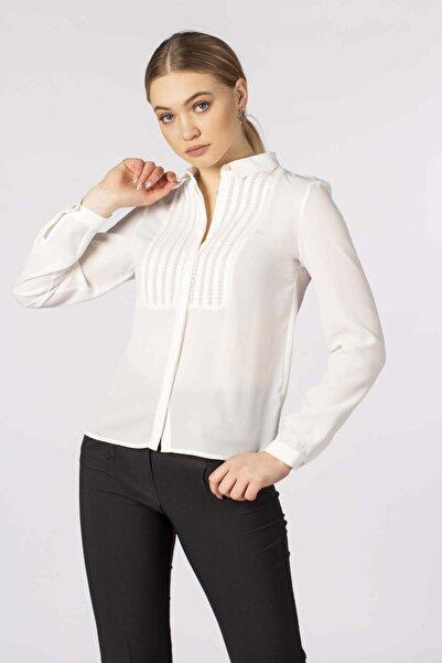 BARRELS AND OIL Kadın Beyaz Önü Robalı Gömlek 572-20M03004.55