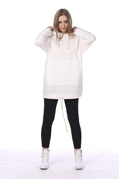 BARRELS AND OIL Kadın Ekru Kapüşonlu Kanguru Cepli Sweatshirt 733-19K014.63