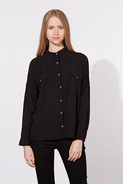 BARRELS AND OIL Kadın Siyah Çift Cepli Gömlek 815-20Y03002.91