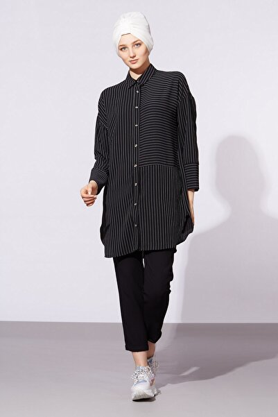 BARRELS AND OIL Kadın Siyah Çizgili Gömlekli İkili Takım 381-20Y96001.91