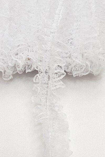 Hayalperest boncuk Beyaz Çift Taraflı Dantel Fırfır 4 Cm