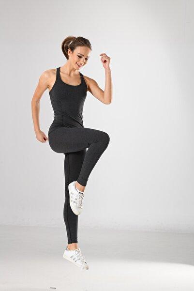 Miss Fit Antrasit Desen Detaylı Kadın Sporcu Atlet Örme Seamless Dikişsiz Yoga & Fitness & Plates